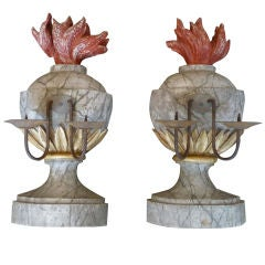 Pair of 19th Century Marbleized Two-Arm Wooden Candelabra