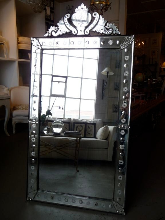19th century Venetian mirror with crest. Crest is removable.