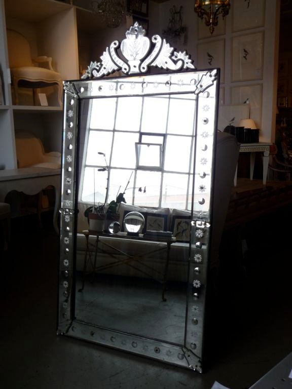 French 19th Century Venetian Mirror with Crest For Sale