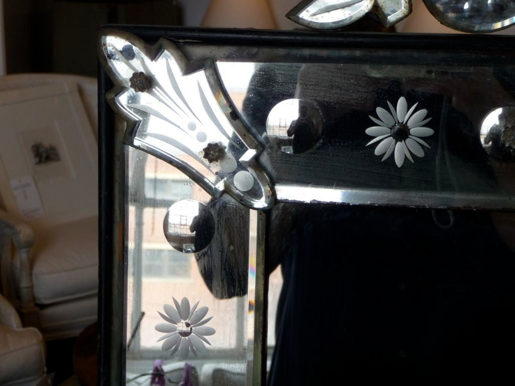 Glass 19th Century Venetian Mirror with Crest For Sale