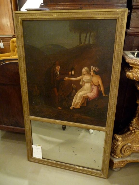 A 19th century, giltwood trumeau mirror with rare subject oil painting and original glass.