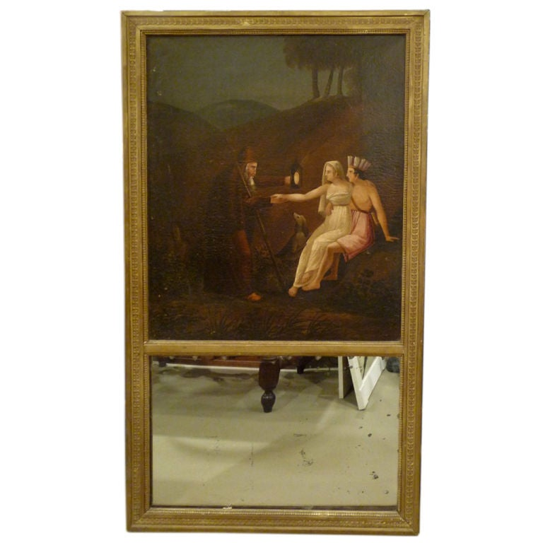 19th Century Trumeau Mirror with Oil Painting For Sale