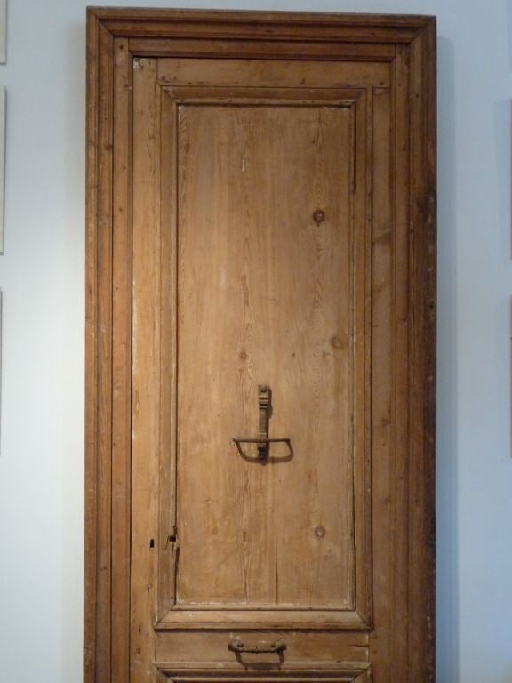 Ordinaire A Wonderful Large Scale 19th Century Red Pine Door With Original Iron  Hardware.