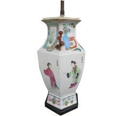 Chinese Hexagonal Baluster Form Lamp