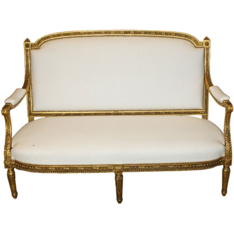 French Louis XVI Neoclassical Giltwood Canape For Sale