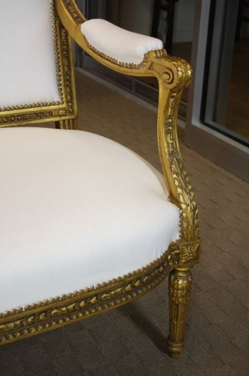 Louis XVI French Giltwood Canape For Sale