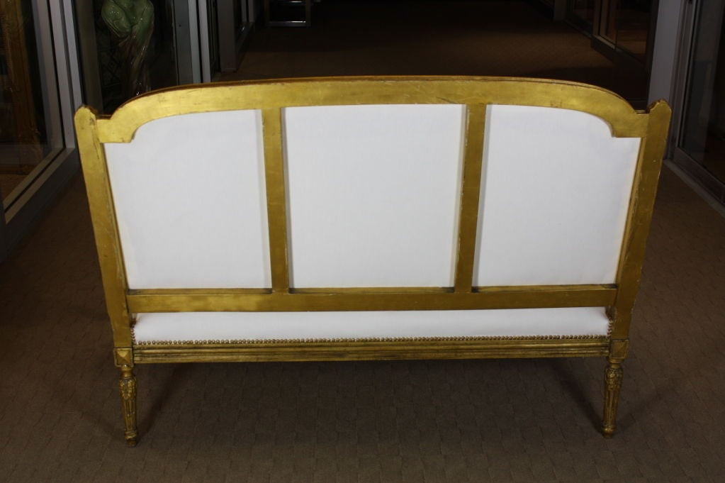 Upholstery French Giltwood Canape For Sale