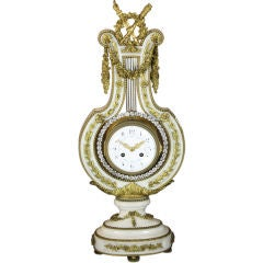 French White Marble Lyre Clock