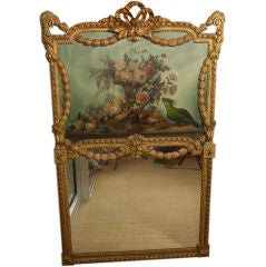 French Louis XVI Style Trumeau Mirror with Floral Bouquet and Parrot