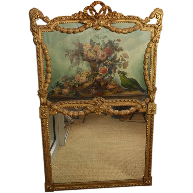 French Louis XVI Style Trumeau Mirror with Bouquet and Parrot