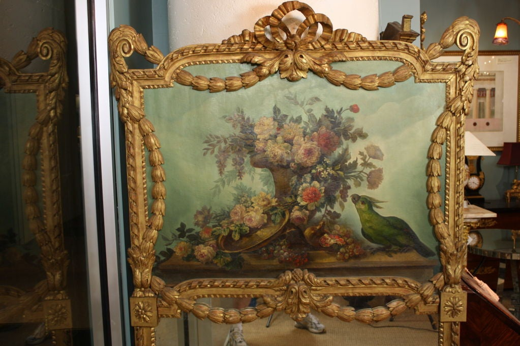 French Louis XVI Style Trumeau Mirror with Painted Floral Bouquet and Parrot In Good Condition For Sale In Charleston, SC