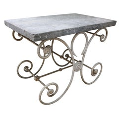 French Marble-Top Baker's Table
