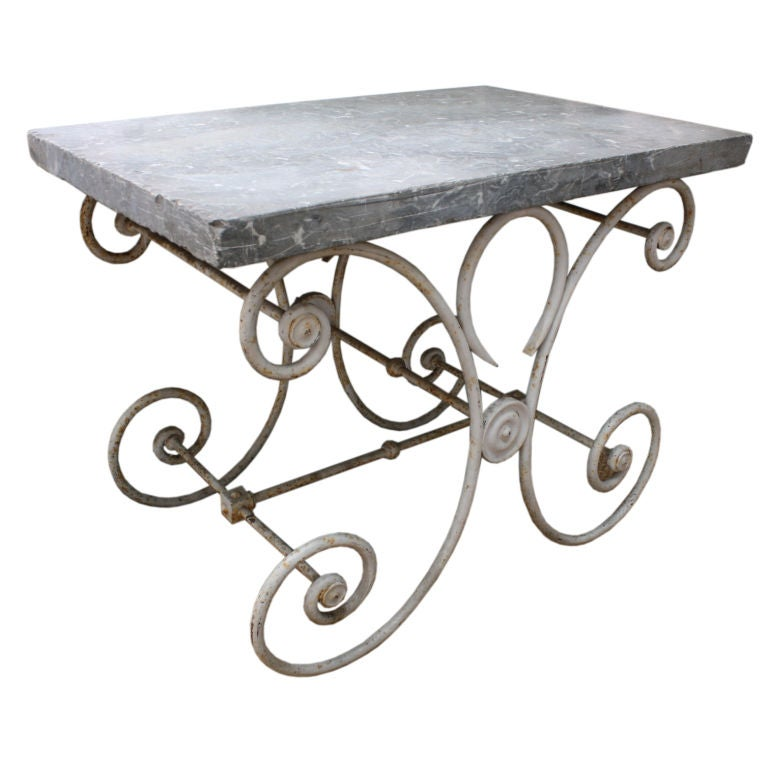 French Marble-Top Baker's Table For Sale