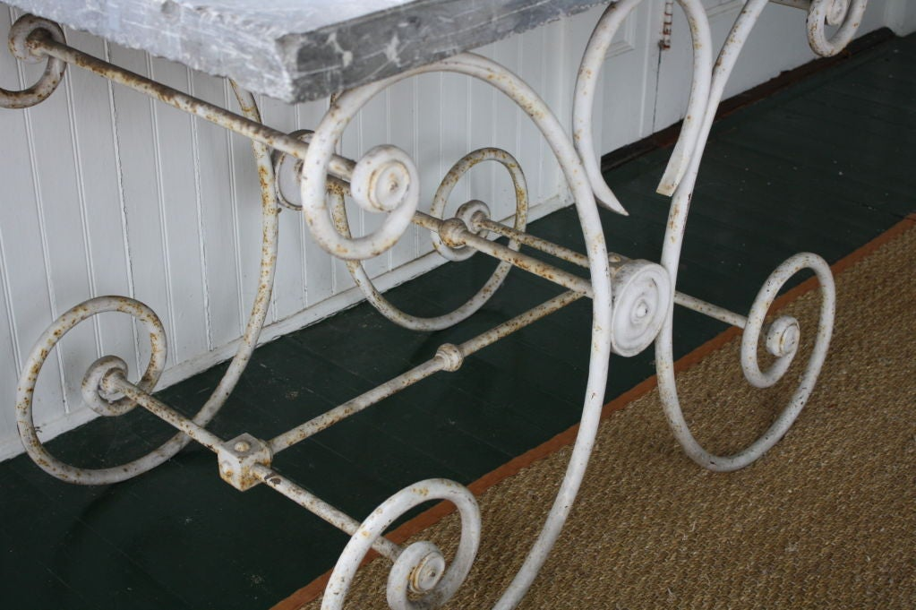 French Marble-Top Baker's Table In Fair Condition For Sale In Charleston, SC