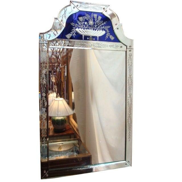 Venetian Glass Mirror With Cobalt Panel At 1stdibs
