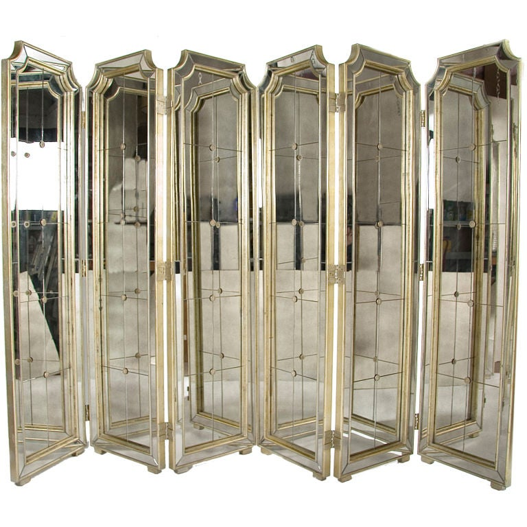 Pair Of Three Panel Mirrored Folding Screens At 1stdibs
