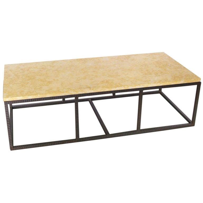Modern metal coffe table w stone top at 1stdibs for Metal coffee table with stone top