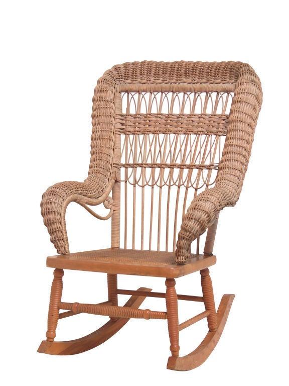 Red Rocking Chair Billy Strings ~ Child s wicker rocker at stdibs