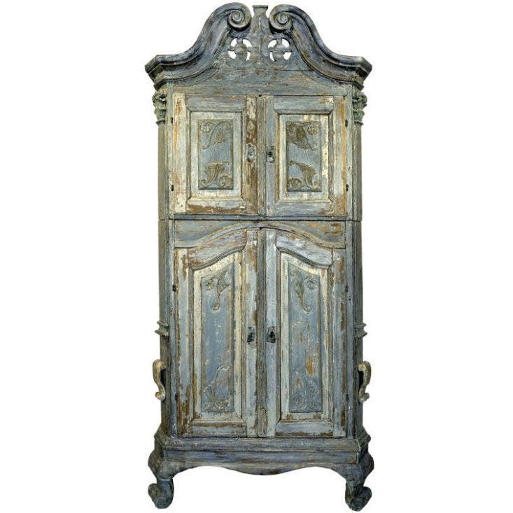 18th Century Swedish Blue Baroque Cabinet 1
