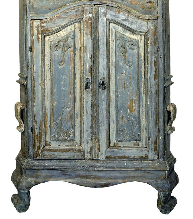 18th Century Swedish Blue Baroque Cabinet image 6