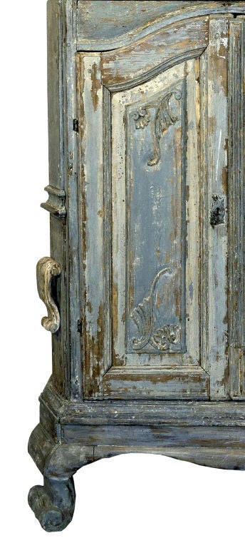 18th Century Swedish Blue Baroque Cabinet image 4