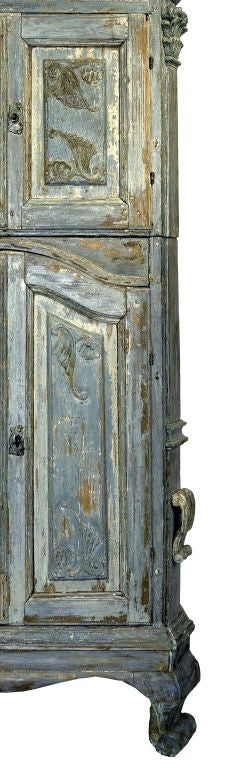 18th Century Swedish Blue Baroque Cabinet image 5