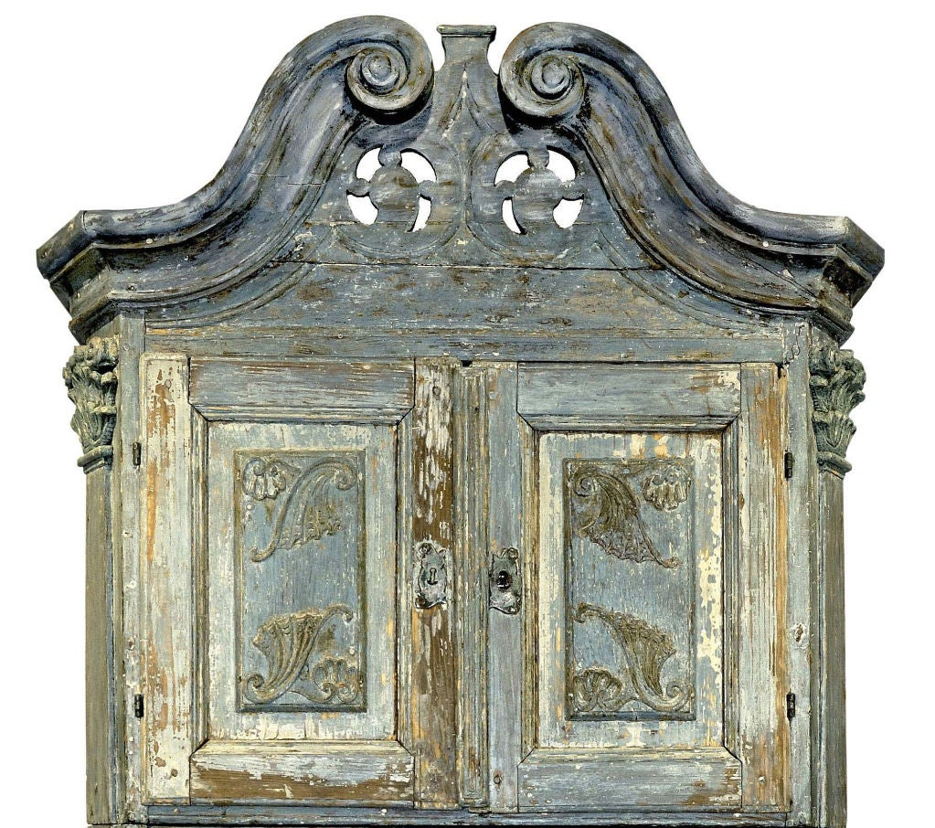 18th Century Swedish Blue Baroque Cabinet image 3