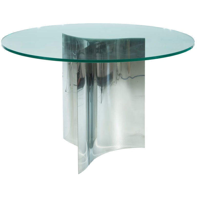 dining table with polished metal base at 1stdibs