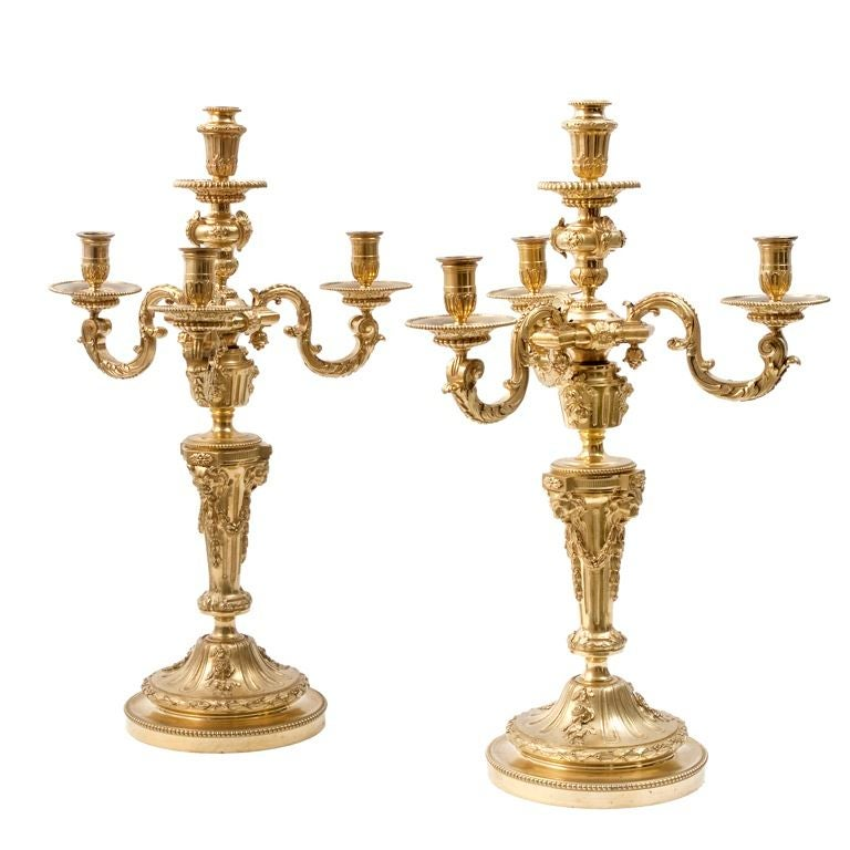 Pair of Ormolu Candelabra after Delafosse