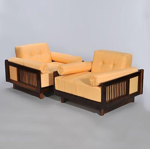 Pair of Brazilian Hardwood 'Quadrado' Chairs 2