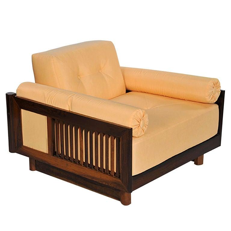 Pair of Brazilian Hardwood 'Quadrado' Chairs 1
