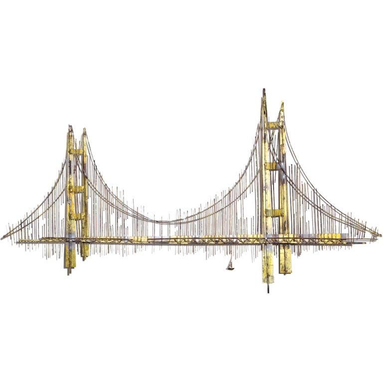 a metal wall sculpture of golden gate bridge by curtis. Black Bedroom Furniture Sets. Home Design Ideas