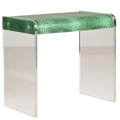 lucite framed and embossed faux alligator skin desk - Lucite Desk