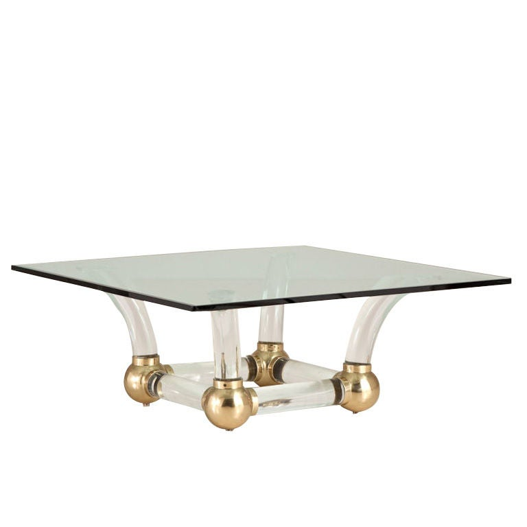 A 1970s Lucite Horned Square Coffee Table At 1stdibs
