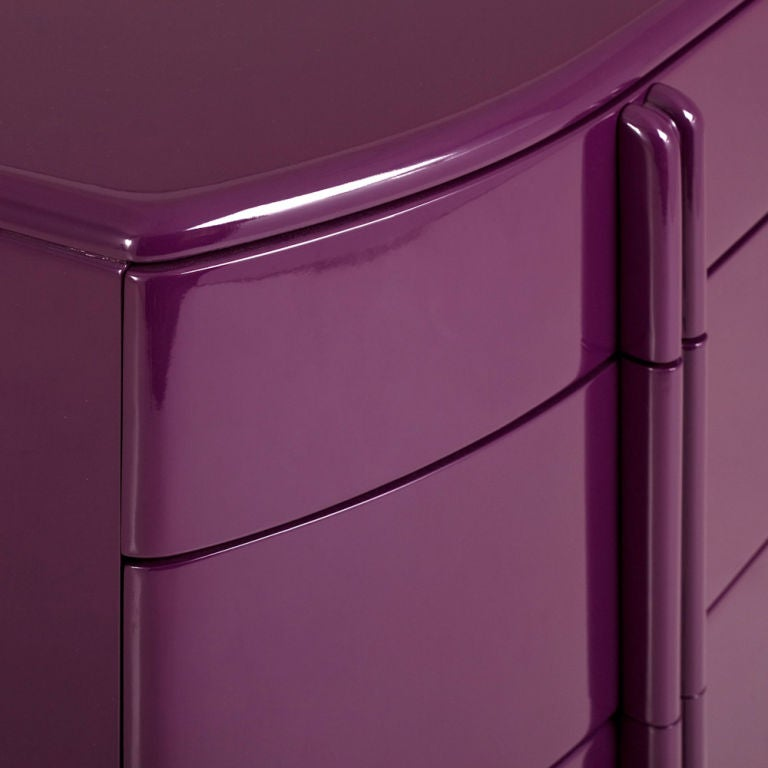 Rare Purple Lacquered Air Flow Chest of Drawers, 1930s 2