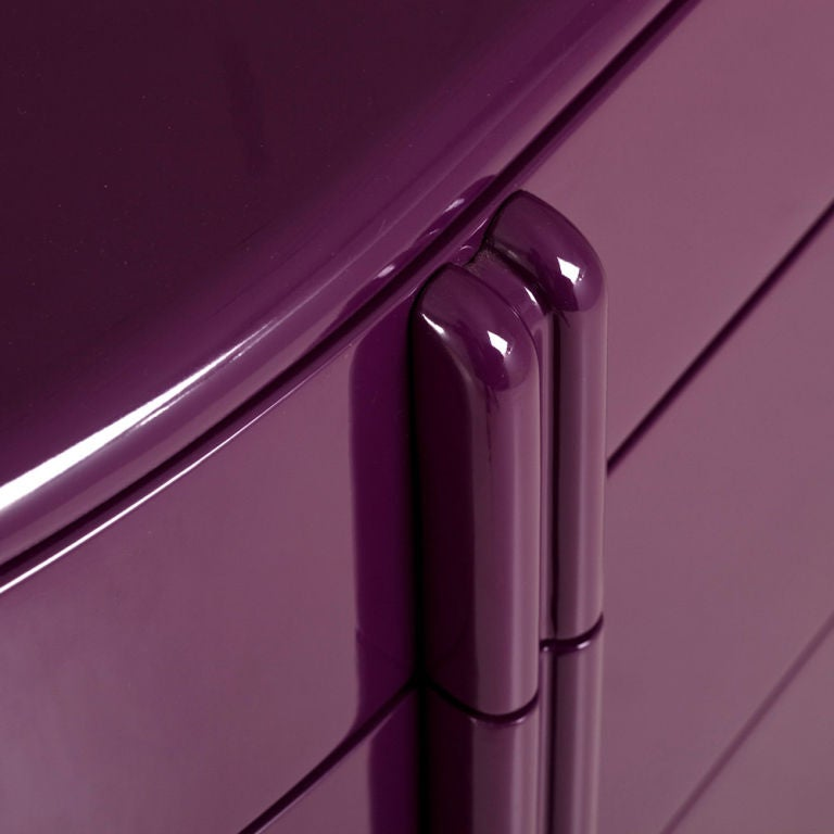 Rare Purple Lacquered Air Flow Chest of Drawers, 1930s 3
