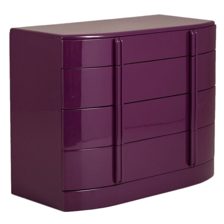 Rare Purple Lacquered Air Flow Chest of Drawers, 1930s
