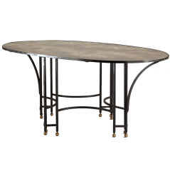 1950s Wrought Iron and Eglomise Top Oval Centre Table