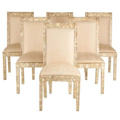 Set of Six Crushed Oyster Shell Veneered Dining Chairs