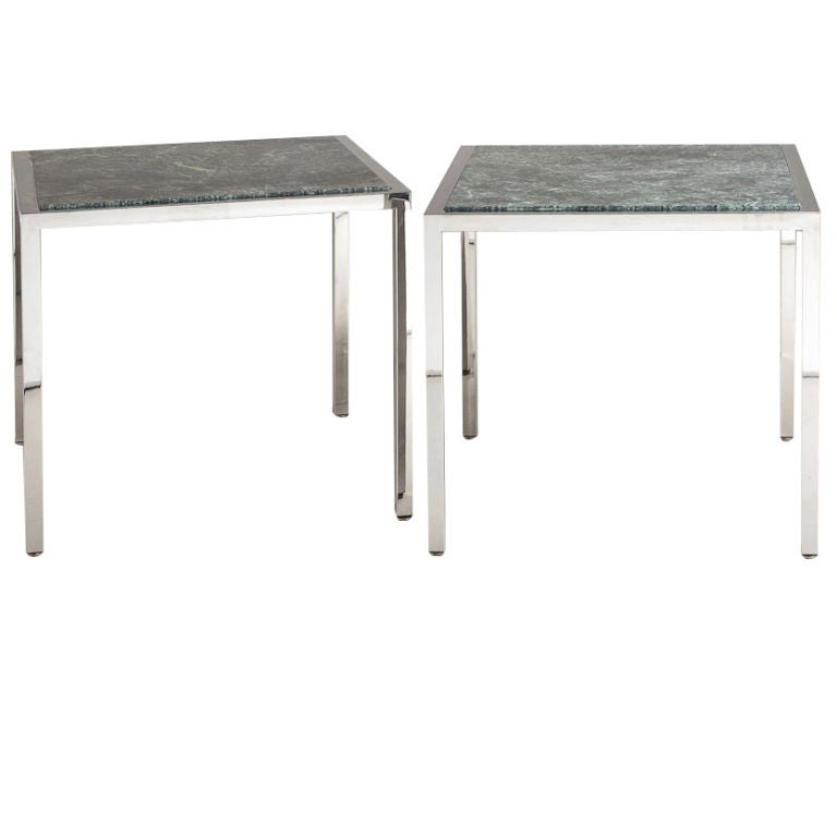 Large Pair of Milo Baughman Designed Square Metal Side Tables