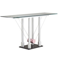 Memphis Style Brushed Steel Console Table