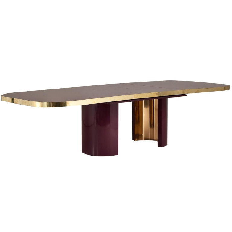 A Large 1970s Plum Lacquered Extendable Dining Table At