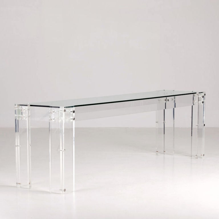 Late 20th Century A Long Low 1970s Lucite Framed Console Table For Sale