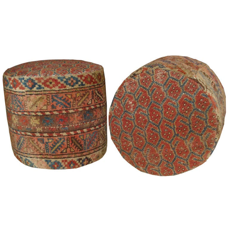 Turkish Rug Covered Ottoman: Ottoman Covered In Vintage Paisley Rug At 1stdibs