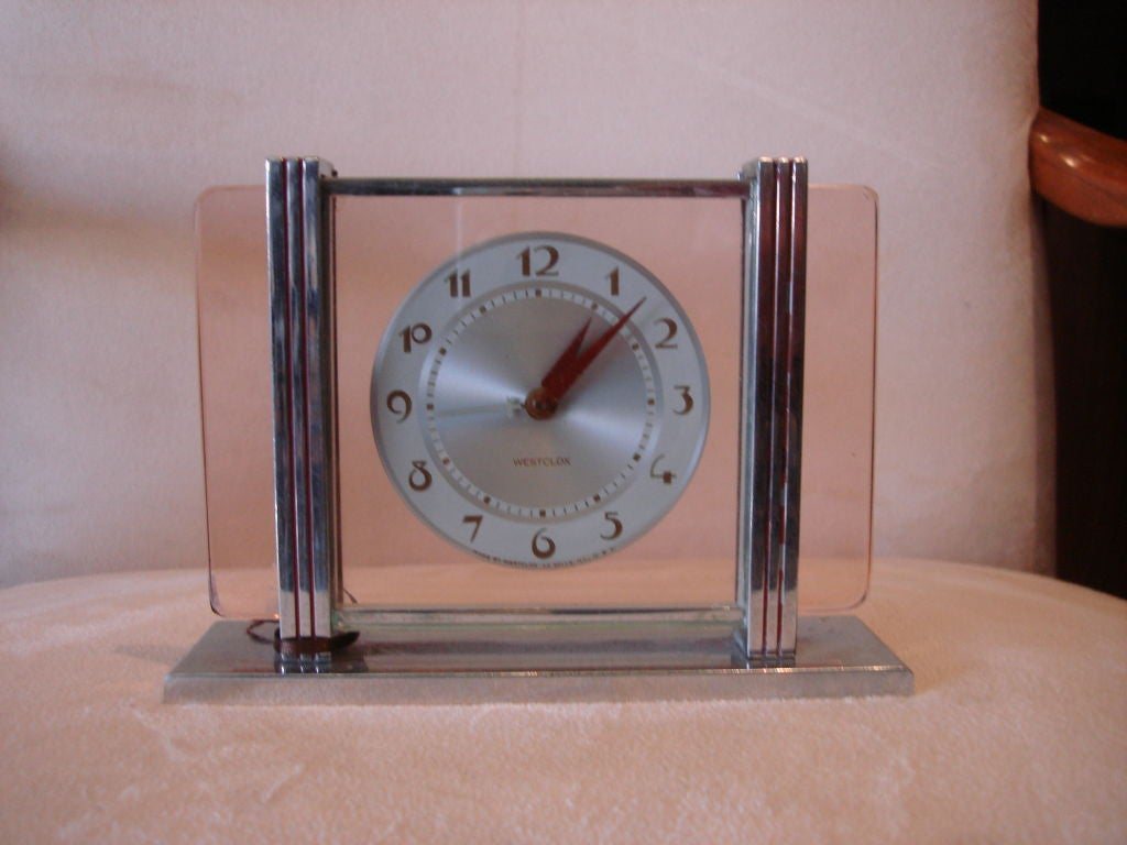 Westclox leland art deco alarm clock with pink amber glass Art deco alarm clocks