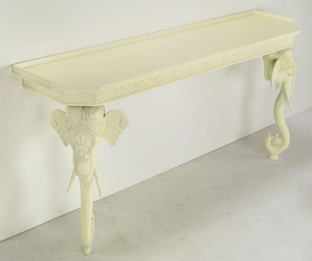 Hand Carved And White Lacquered Elephant Console Table At