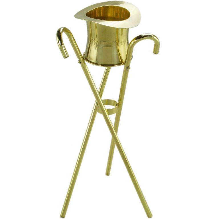 Brass Top Hat Champagne Cooler On Brass Cane Tripod Stand For Sale