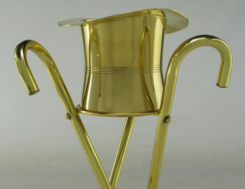 Plated Brass Top Hat Champagne Cooler On Brass Cane Tripod Stand For Sale