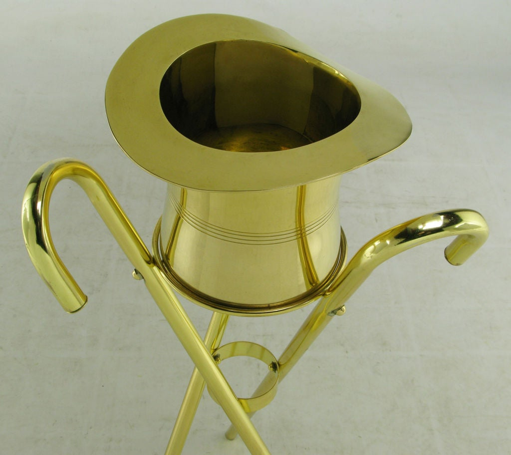 Late 20th Century Brass Top Hat Champagne Cooler On Brass Cane Tripod Stand For Sale