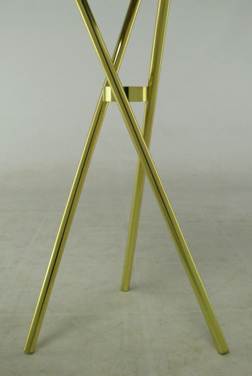 Brass Top Hat Champagne Cooler On Brass Cane Tripod Stand For Sale 4